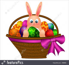 holidays happy easter bunny rabbit in egg basket stock