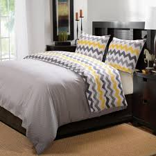Black Wood Nightstand Bedroom Chevron Pattern Gray Yellow Bedding Set Black Wood