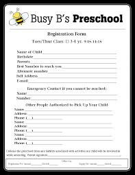 preschool registration form template teaching ideas pinterest