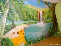 deco chambre bebe theme jungle décoration mural pour chambre d enfant roi dans la jungle