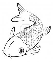 koi fish clipart line drawing pencil and in color koi fish