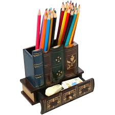 Pencil Holder For Desk Library Books Pencil Holder With Bottom Drawer Review