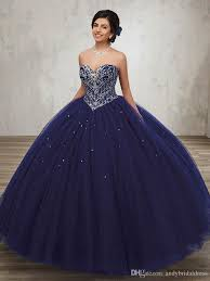 blue quinceanera dresses new coming gown sweetheart silver rhinestones navy blue