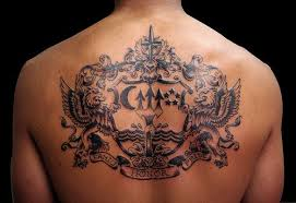 family crest on back