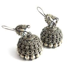 jhumka earrings online peacock studs oxidized plain silver 925 sterling silver jhumka