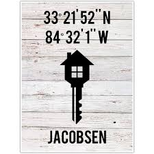 personalized wedding gift home key latitude and longitude print