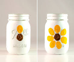thumbprint flower mason jar mason jar crafts love