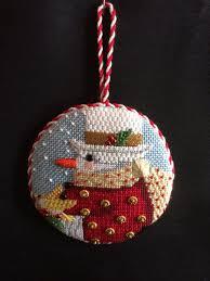 snowman ornament needlepoint canvas by melissa shirley canvas