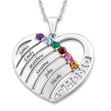 necklace with birthstones heart necklace with names gold or silver silver necklaces