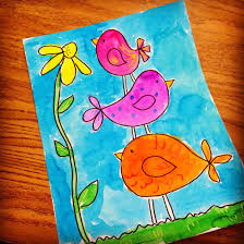 art projects for kids little birdies watercolor painting art
