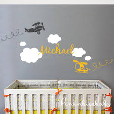 Personalized Nursery Wall Decals Airplane Cloud And Personalized Name Nursery Wall Decal Sticker