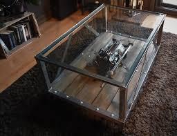 Meuble Style Montagne Table Basse Verre Et Pied Metal U2013 Phaichi Com