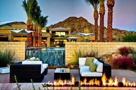 outdoor fireplace waterfall pool seating ironwood estate in