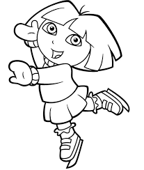 dora explorer playing ice skating coloring pages toddler