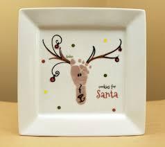 footprint reindeer plate cookies for santa custom porcelain