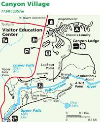 Map Of Yellowstone National Park Yellowstone National Park Maplets Canyon Village Reservation