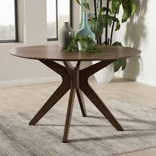 mid century modern dining room table baxton studio monte mid century modern walnut wood 47 inch round
