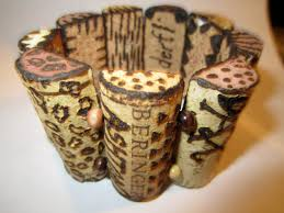 bracelet made from cut wine corks this would make a great gift