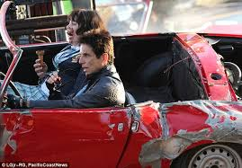 ben stiller wrecks a classic car for crash scene on set of
