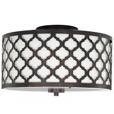 Hton Bay Edgemoor 13 In 2 Light Oil Rubbed Bronze Semi Bathroom Flush Mount Light Fixtures