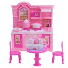 barbie dining room set dollhouse kitchen simulation barbie furniture set dining table