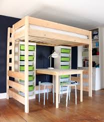 Free Plans For Bunk Beds With Desk by Diy Loft Bed With Desk And Storage