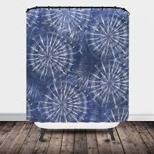 indigo blue tie dye star burst shower curtain