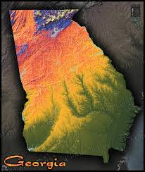 Map Of Georgia With Cities Topographic Georgia State Map Vibrant Physical Landscape