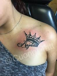 name tattoo with crown art by corey king kassidy crown ink