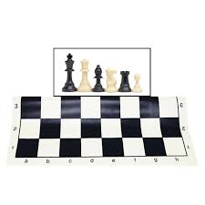 tournament chess set filled chess pieces and black roll up vinyl