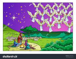 christmas story shepherds choir angels stock illustration
