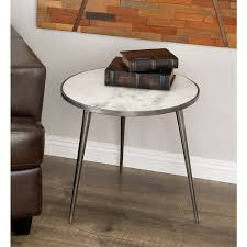 aluminum accent table aluminum marble accent table in gray 68985 the home depot