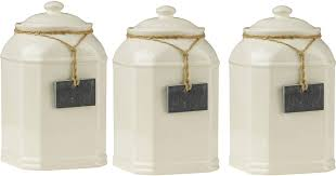 storage jars tea coffee sugar canisters with slate tag cream color