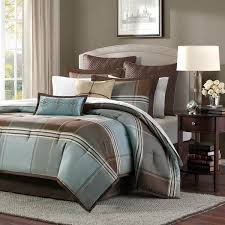 Blue And Gray Bedding Shop Madison Park Lincoln Square Blue Brown Bed Sets The Home