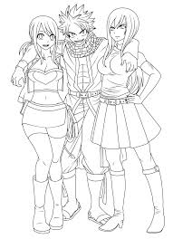 fairy tail lineart natsu with lucy and erza by natsu9555 on
