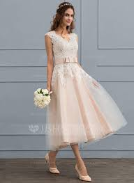tea length wedding dress a line princess v neck tea length tulle wedding dress with bow s