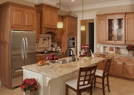 Maple Kitchen Cabinets With Granite Countertops Santa Cecilia Light Granite For A Traditional Kitchen With A