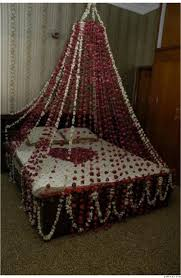 red and white color bridal room decoration latest ideas 2014