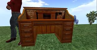 Roll Top Antique Desk Second Life Marketplace Antique Oak Roll Top Desk Very Nice