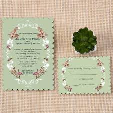 wedding invitations belfast bracket scallop unique shabby chic boho themed rustic green