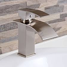 Elite Modern Bathroom Sink Waterfall Faucet Brushed Nickel Finish Modern Bathroom Faucets And Fixtures