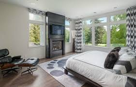 Chevron Panel Curtains Seattle Dark Wood Floors Bedroom Contemporary With Grey Pattern