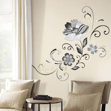 roommates 5 in x 19 in black and white flower scroll 22 piece black and white flower scroll 22 piece peel and stick giant wall decal rmk2783gm the home depot