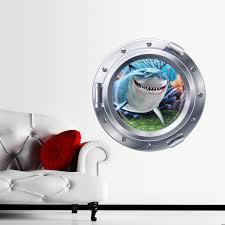3d ocean view underwater shark window wall sticker decals for kids