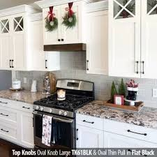 thin black kitchen cabinet handles top knobs oval thin pull contemporary style 5 inch 128mm center to center overall length 6 inch flat black cabinet hardware pull handle