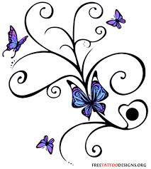 swirl design and blue butterflies tattoos design
