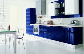 cool sleek kitchen with glossy blue cabinets and acrylic stools in