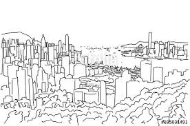 hong kong downtown panorama outline sketch