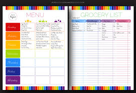 Grocery Shopping List Template Menu Planner With Grocery List Template The Best And Various