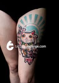 tattoo cat neko maneki neko beckoning lucky money cat tattoo concierge